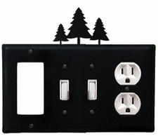 GFI, Double Switch and Outlet Cover, Pine Trees, Wrought Iron