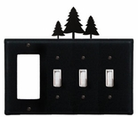 GFI and Triple Switch Cover, Pine Trees, Wrought Iron
