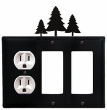 Outlet and Double GFI Cover, Pine Trees, Wrought Iron