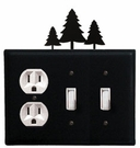 Outlet and Double Switch Cover, Pine Trees, Wrought Iron