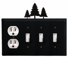 Outlet and Triple Switch Cover, Pine Trees, Wrought Iron