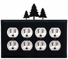 Quad Outlet Cover, Pine Trees, Wrought Iron