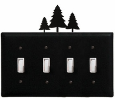 Quad Switch Cover, Pine Trees, Wrought Iron