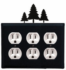 Triple Outlet Cover, Pine Trees, Wrought Iron