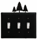 Triple Switch Cover, Pine Trees, Wrought Iron