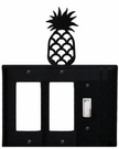 Double GFI and Switch Cover, Pineapple, Wrought Iron