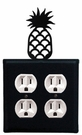 Double Outlet Cover, Pineapple, Wrought Iron