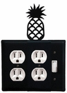 Double Outlet and Switch Cover, Pineapple, Wrought Iron
