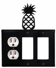 Outlet and Double GFI Cover, Pineapple, Wrought Iron