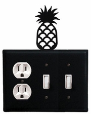 Outlet and Double Switch Cover, Pineapple, Wrought Iron