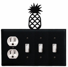 Outlet and Triple Switch Cover, Pineapple, Wrought Iron