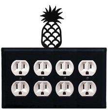 Quad Outlet Cover, Pineapple, Wrought Iron