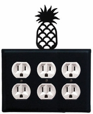 Triple Outlet Cover, Pineapple, Wrought Iron