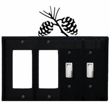 Double GFI & Double Switch Cover, Pinecones, Wrought Iron