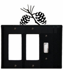 Double GFI and Switch Cover, Pinecones, Wrought Iron
