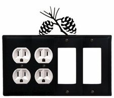 Double Outlet & Double GFI Cover, Pinecones, Wrought Iron