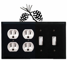 Double Outlet & Double Switch Cover, Pinecones, Wrought Iron