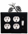 Double Outlet and Switch Cover, Pinecones, Wrought Iron