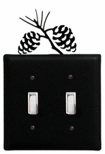 Double Switch Cover, Pinecones, Wrought Iron