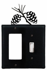 GFI and Switch Cover, Pinecones, Wrought Iron
