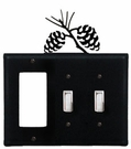 GFI and Double Switch Cover, Pinecones, Wrought Iron