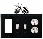 GFI, Double Switch and Outlet Cover, Pinecones, Wrought Iron