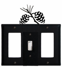 GFI, Switch and GFI Cover, Pinecones, Wrought Iron