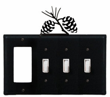 GFI and Triple Switch Cover, Pinecones, Wrought Iron