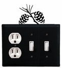 Outlet and Double Switch Cover, Pinecones, Wrought Iron