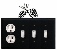 Outlet and Triple Switch Cover, Pinecones, Wrought Iron