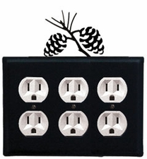 Triple Outlet Cover, Pinecones, Wrought Iron