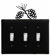 Triple Switch Cover, Pinecones, Wrought Iron