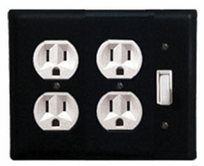 Double Outlet and Switch Cover, Wrought Iron
