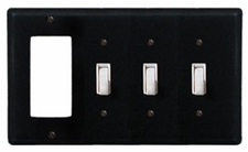 GFI and Triple Switch Cover, Wrought Iron