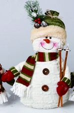 Plush Snowman with Knit Cap & Ski Poles, Christmas Decoration