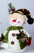 Plush Snowman with Stocking Hat, Christmas Decoration