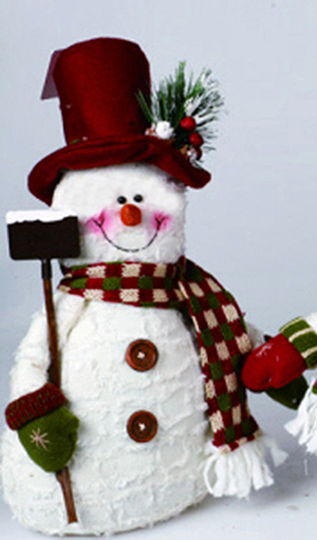 plush snowman with top hat shovel christmas decoration - Top Hat Christmas Decorations