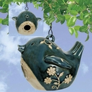 Porcelain Birdhouse, Stylized Bird Design