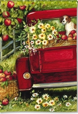 Garden Flag, Red Truck, Dog, Americana, Apples, Flowers