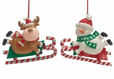 Reindeer & Snowman on Sleds, Clay Dough Christmas Ornaments