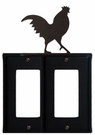 Double GFI Cover, Rooster, Wrought Iron