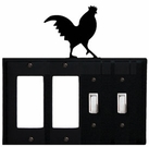 Double GFI & Double Switch Cover, Rooster, Wrought Iron