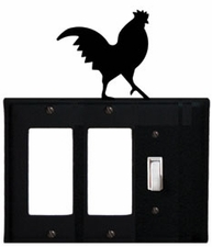 Double GFI and Switch Cover, Rooster, Wrought Iron