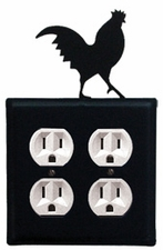 Double Outlet Cover, Rooster, Wrought Iron