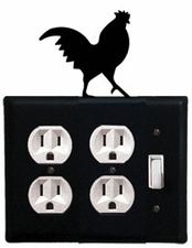 Double Outlet and Switch Cover, Rooster, Wrought Iron