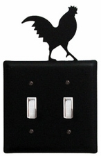 Double Switch Cover, Rooster, Wrought Iron