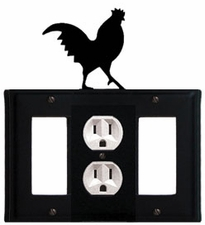 GFI, Outlet and GFI Cover, Rooster, Wrought Iron