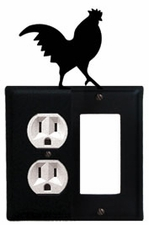 Outlet and GFI Cover, Rooster, Wrought Iron