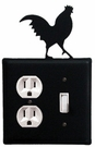 Outlet and Switch Cover, Rooster, Wrought Iron