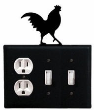 Outlet and Double Switch Cover, Rooster, Wrought Iron